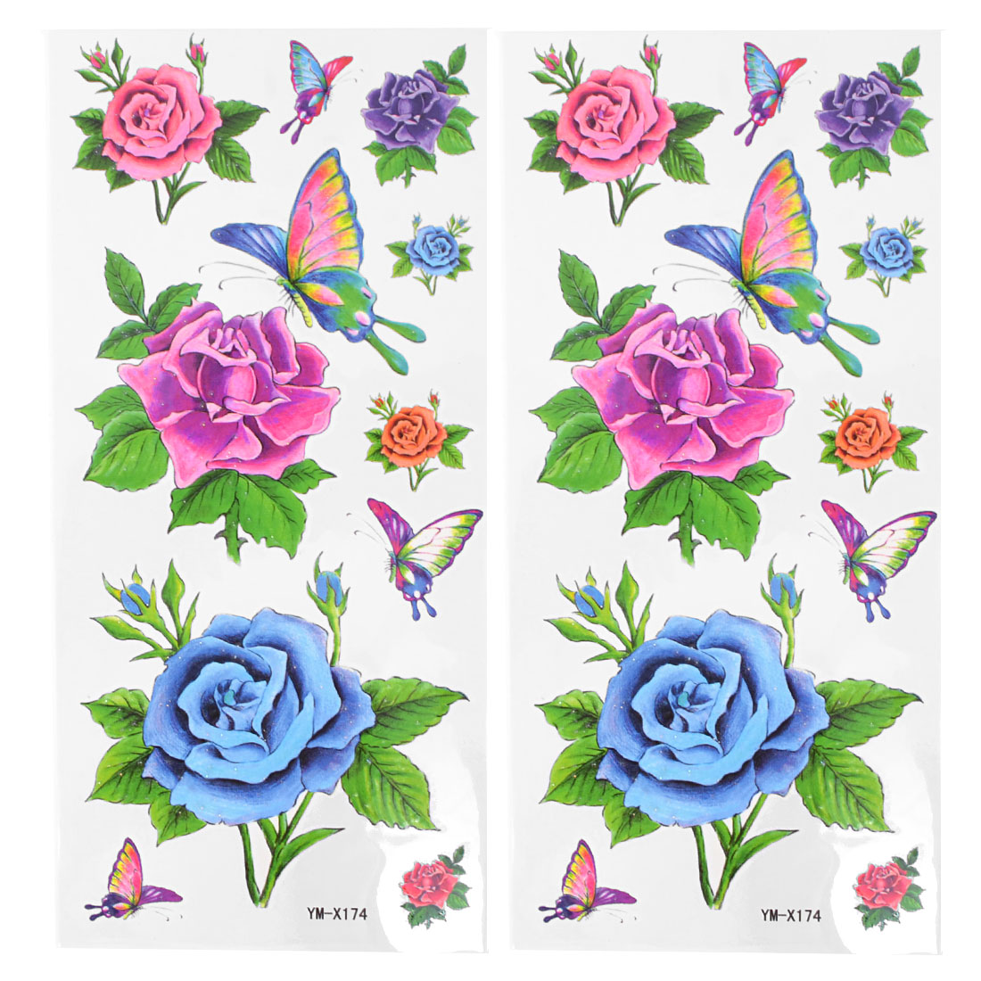 2pcs Skin Ornament Flowers Butterfly Pattern Multicolor Transfer Tattoos Sticker