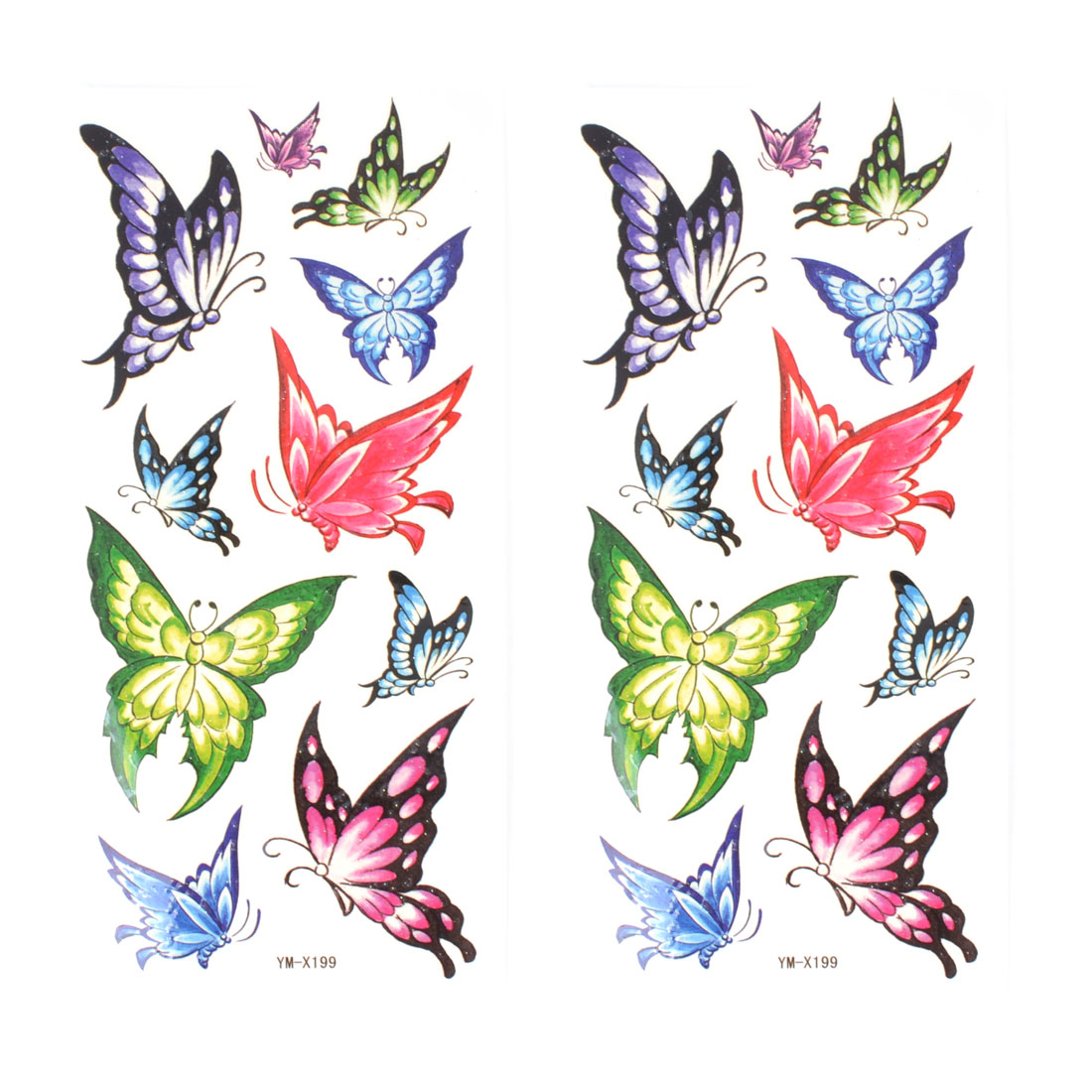Body Art Multicolor Butterfly Pattern Temporary Tattoo Transfer Sticker 2 Pcs