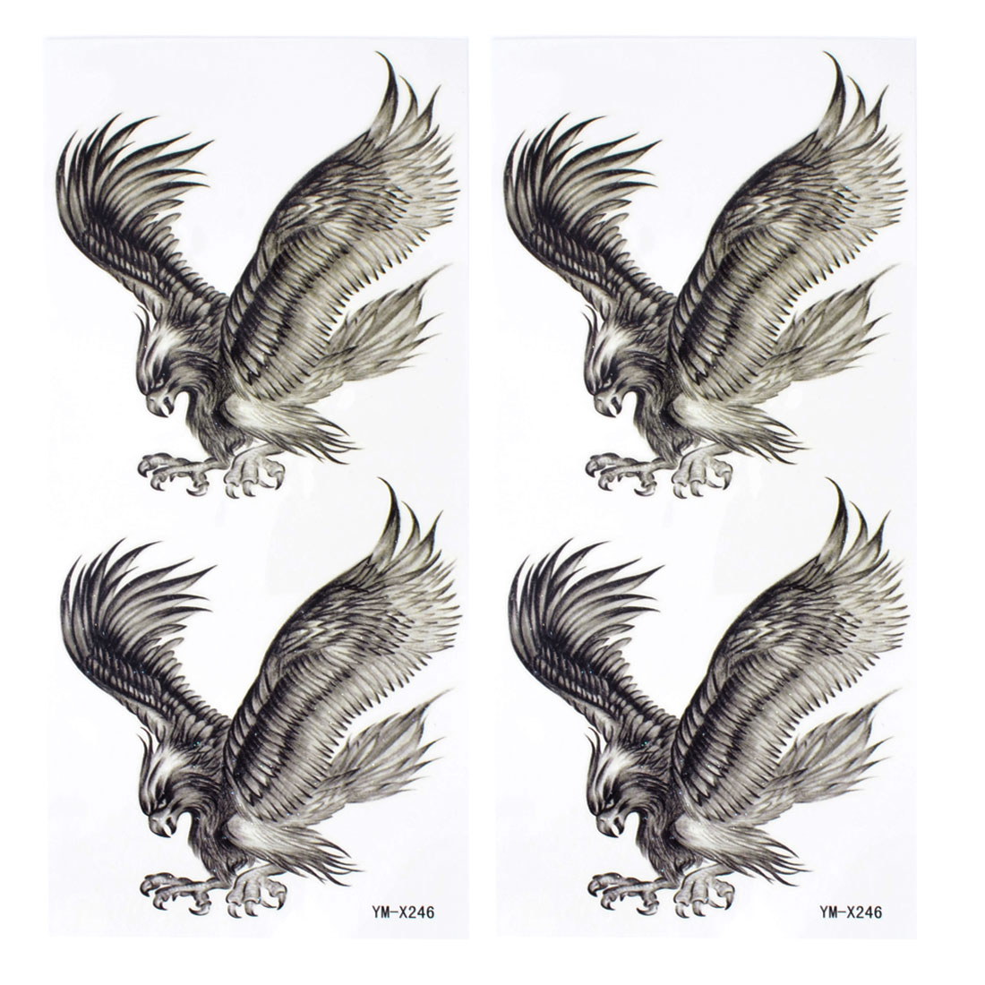 Skin Embellish Black Eagle Pattern Temporary Tattoo Transfer Sticker 2 Pcs