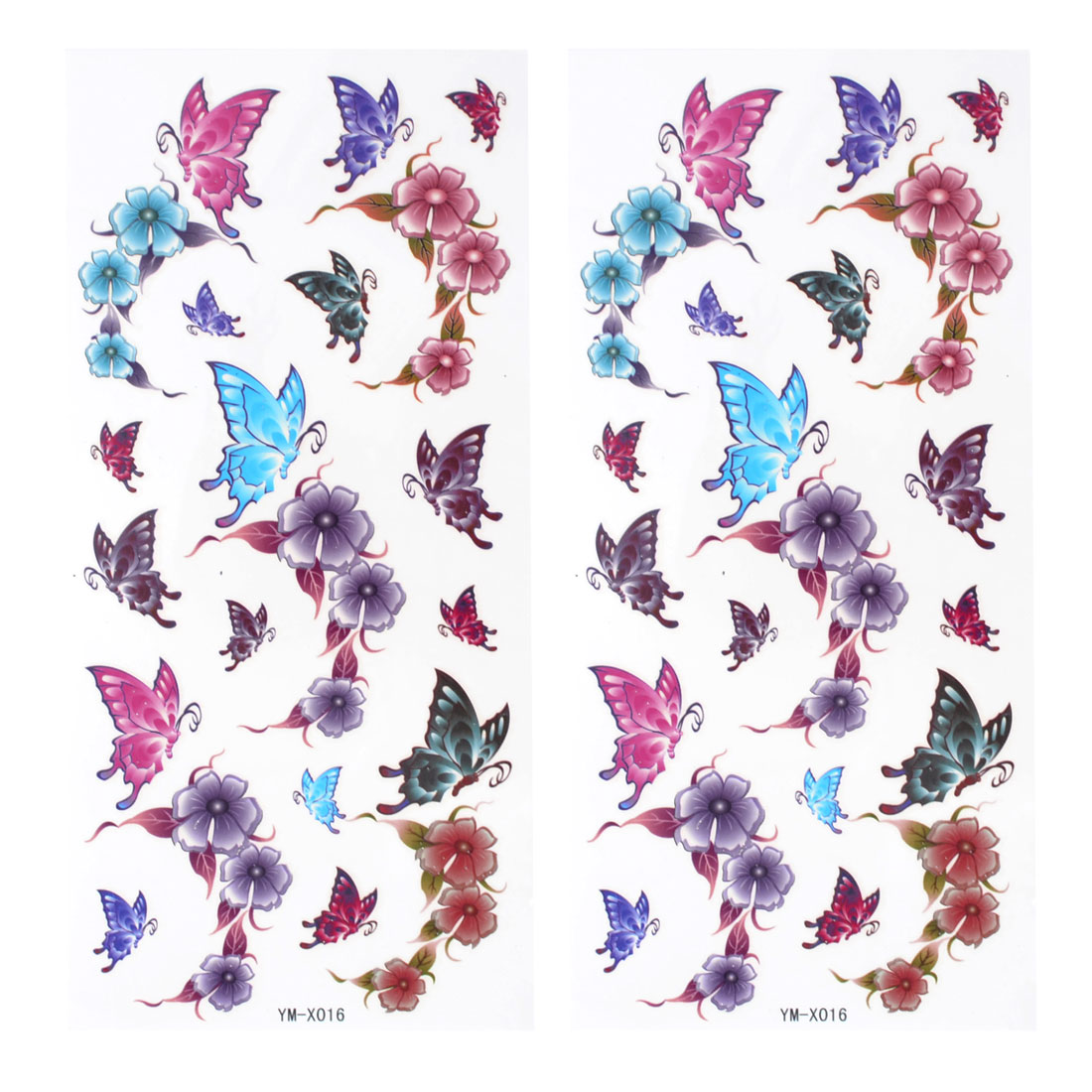 Colorful Butterfly Floral Pattern Temporary Tattoo Transfer Sticker 2 Pcs