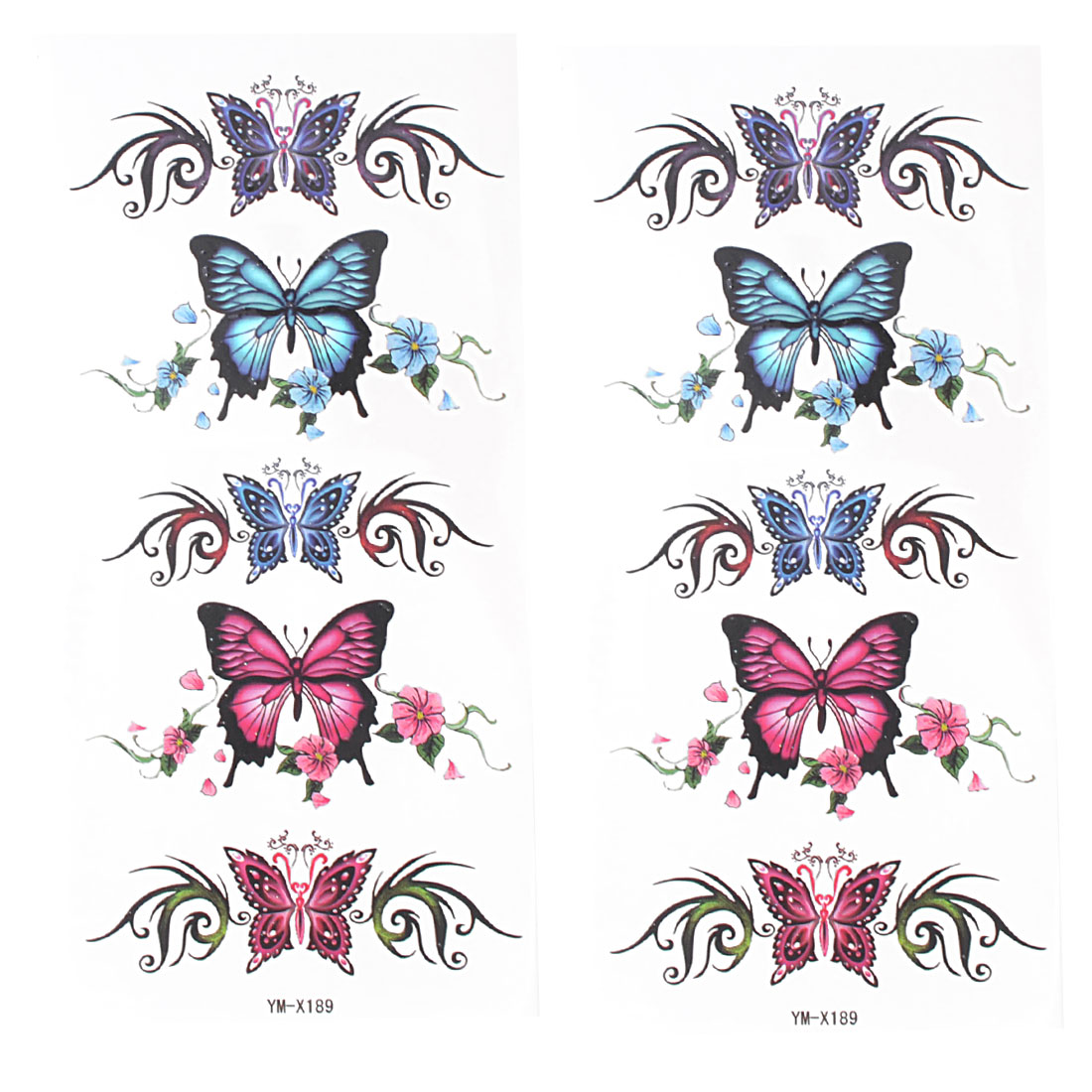 Body Art Butterfly Print Temporary Tattoos Transfer Stickers Blue Fuchsia 2 Pcs