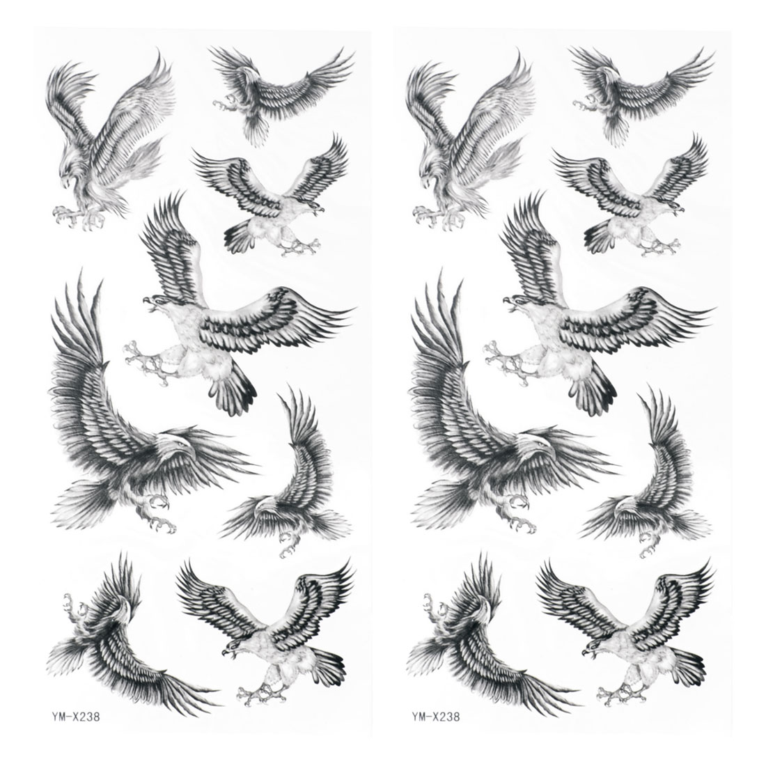 Black Eagle Pattern Waterproof Temporary Tattoo Transfer Sticker 2 Pcs