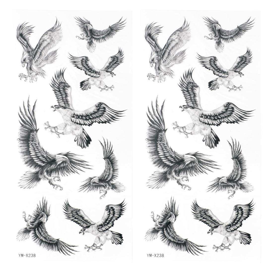 Black Eagle Pattern Waterproof Temporary Tattoo Transfer Sticker 2 Pcs