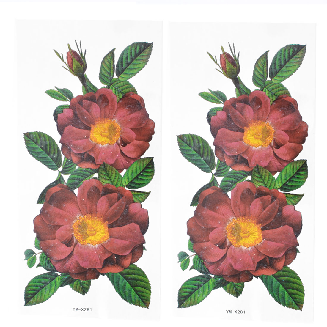 Skin Detail Burgundy Flower Pattern Temporary Tattoo Transfer Sticker 2 Pcs