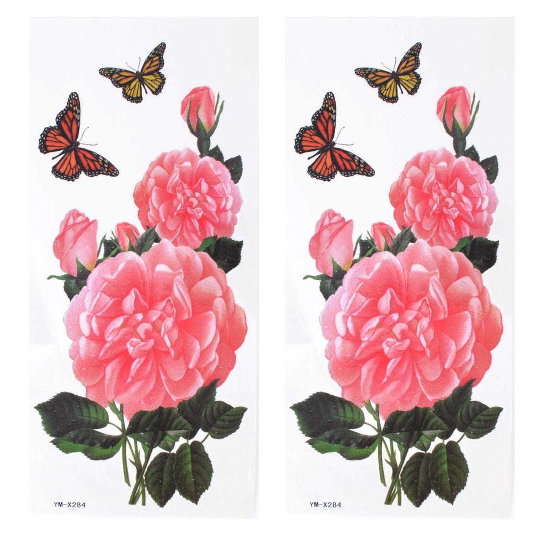 Pink Peony Flower Print Waterproof Temporary Tattoo Transfer Sticker 2 Pcs