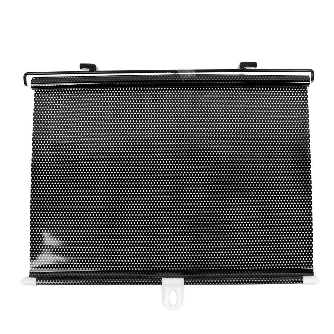 Vehicle Car Clear Black Front Window Roll Up Retractable Dotted Vinyl Sun Shade Guard Protector 60cm x 40cm w Suction Cup