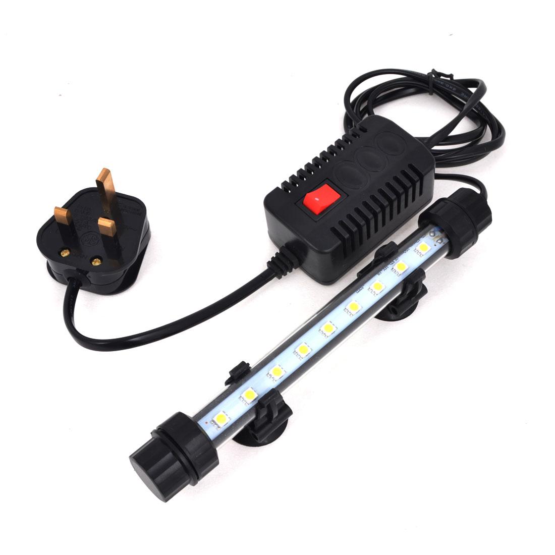 "UK Plug AC 220-240V Suction Cup 18cm 7"" White Light 9 LEDs Aquarium Tank Submersible Lamp"