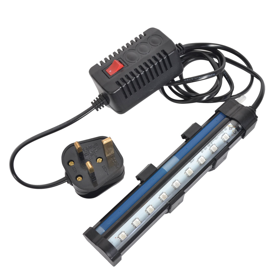 AC 220V-240V UK Plug Aquarium 9 SMD LEDs Blue Bubble Submersible Lamp