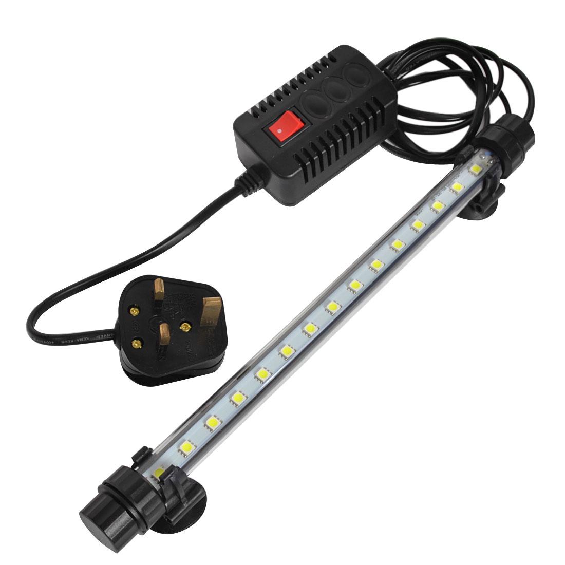 AC 220V-240V UK Plug Aquarium 15 SMD LEDs White Light Submersible Lamp