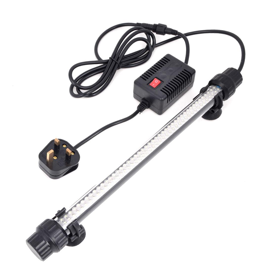 Suction Cups Mounted 3W White Light 92 LEDs Aquarium Submersible Lamp UK Plug AC 220V-240V