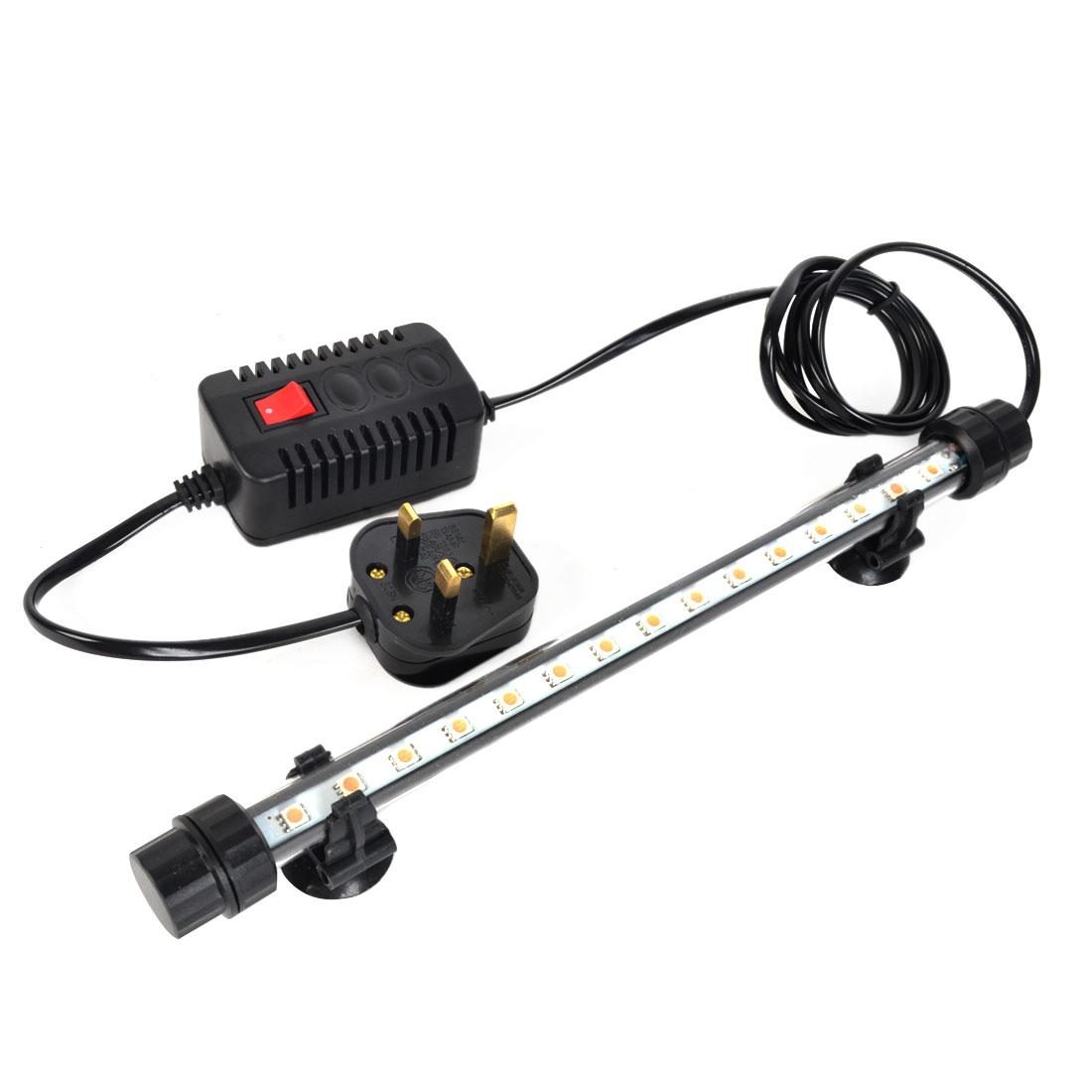 UK Plug AC 220V-240V 15x0.5W Pink Light LED Fish Tank Underwater Submersible Lamp