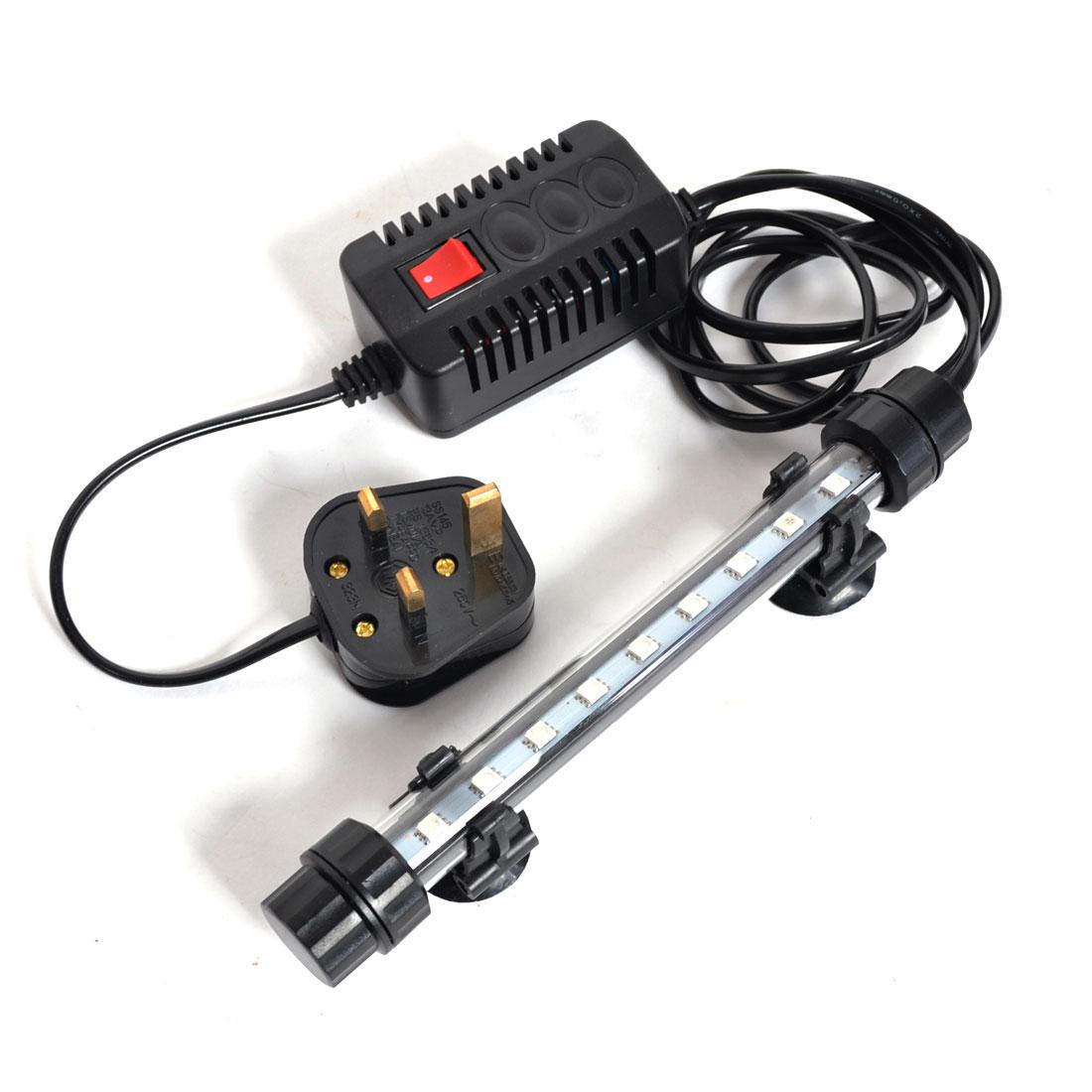 AC 220V-240V UK Plug Aquarium 9 SMD LEDs Blue Light Submersible Lamp