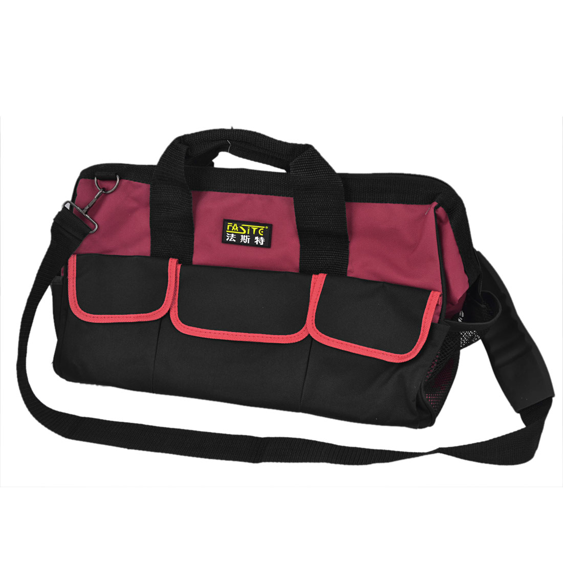 Black Red Nylon Oxford Computer Maintenance Tool Holder Shoulder Hand Bag