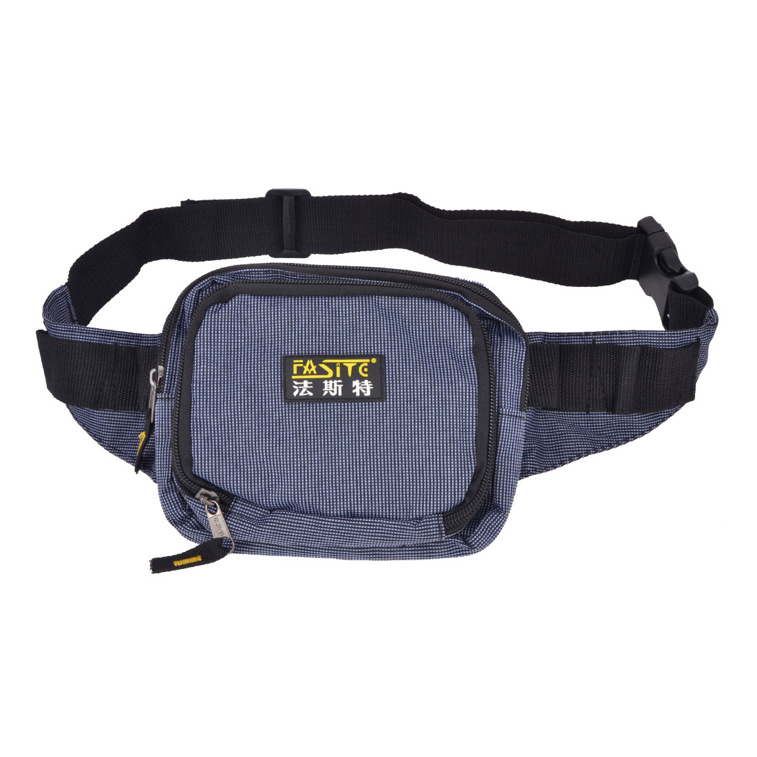 Grids Printed Zipper Closure Blue Nylon Oxford Tool Holder Waist Bag