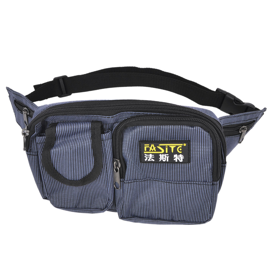 Check Printed Zipper Closure Blue Nylon Oxford Tool Holder Waist Bag