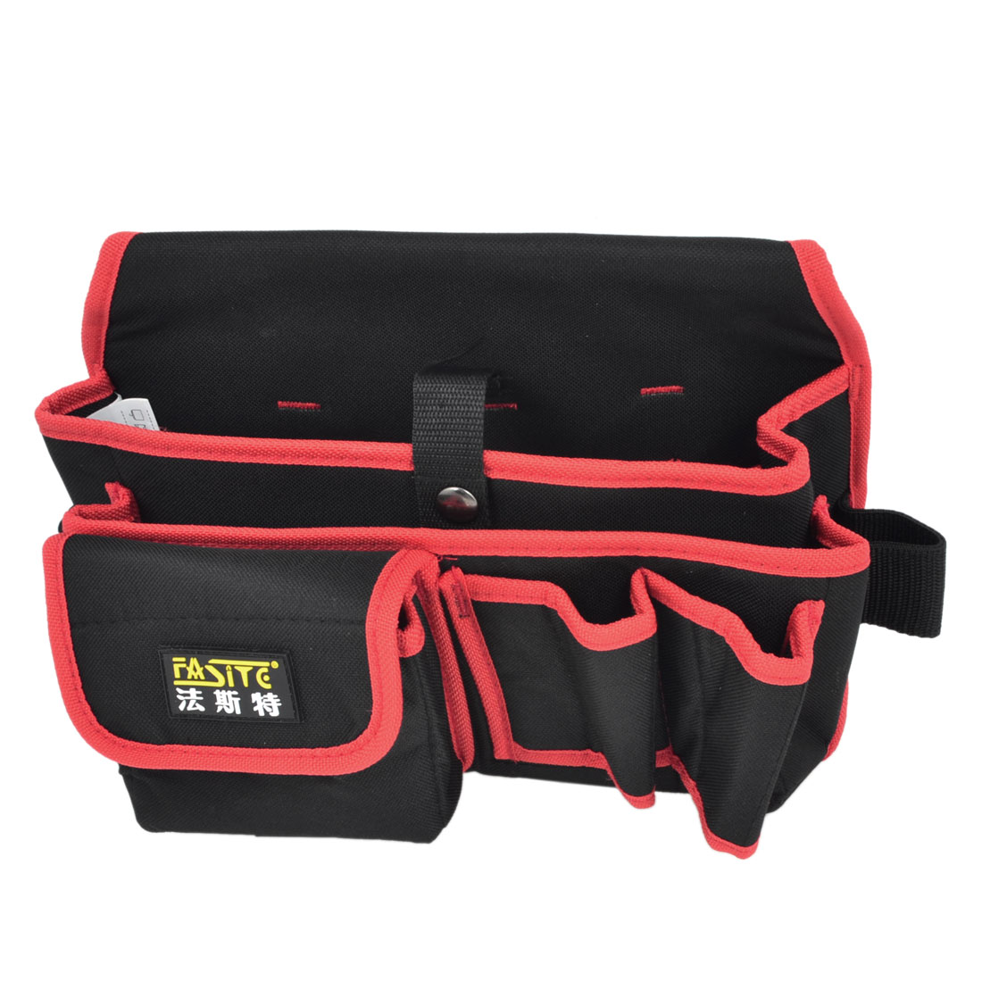 Black Red Canvas Electrician Tool Organizer Waist Bag Pouch
