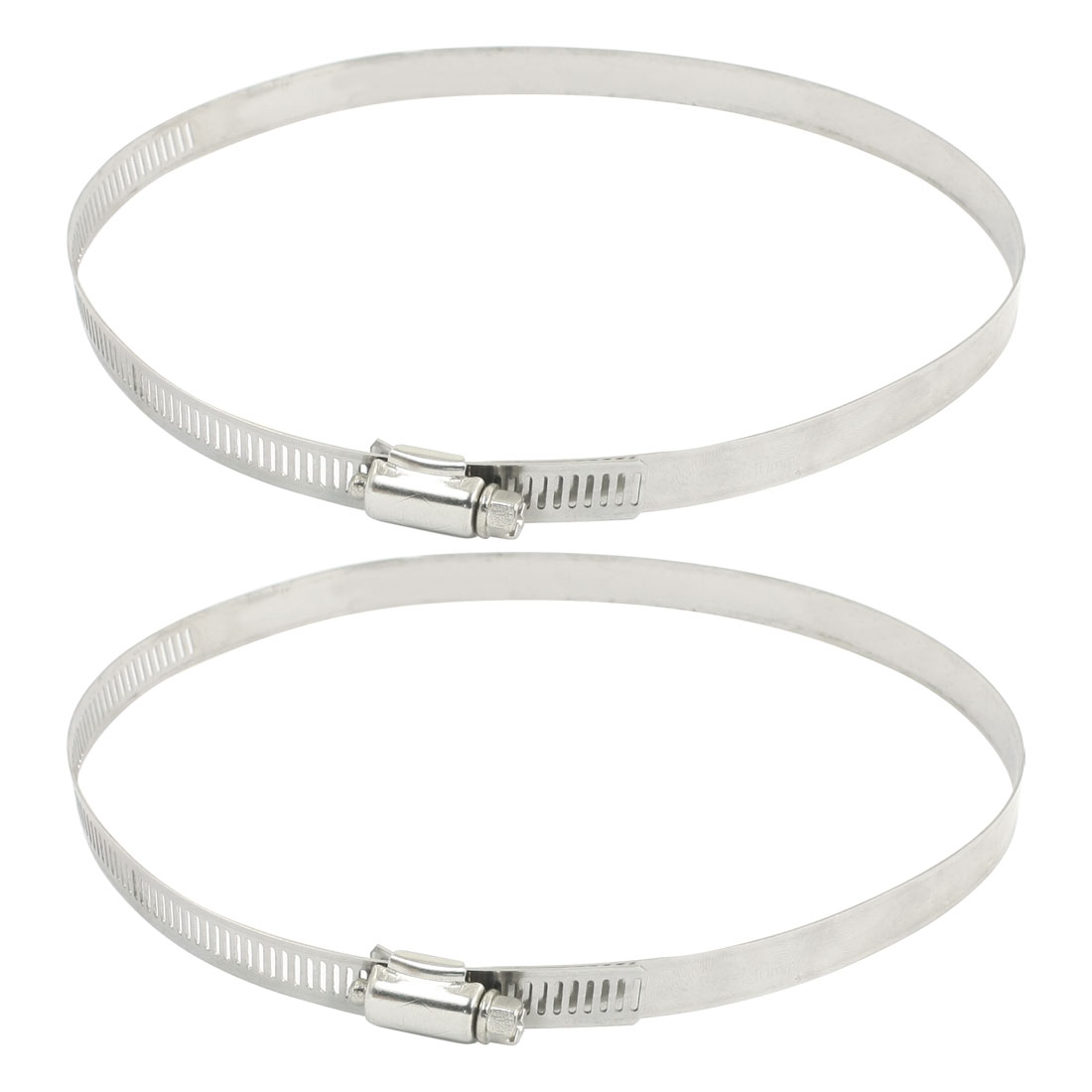 2Pcs Silver Tone Stainless Steel Adjustable 160mm to 180mm Worm Drive Hose Pipe Clamp Clip Fastener