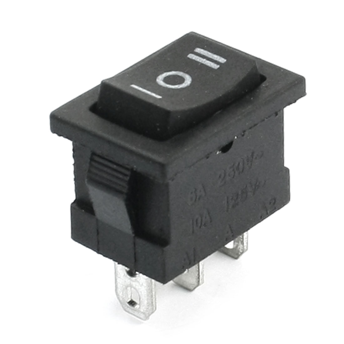 Black Three Positions AC 250V 6A AC 125V 10A SPDT 3 Pins Panel Mounting Boat Rocker Switch