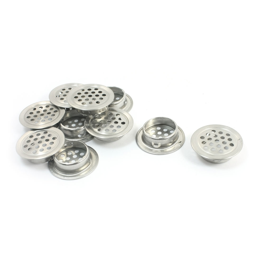 10 Pcs Kitchen 35mm Upper Dia Silver Tone Metal Mesh Air Vent Louver