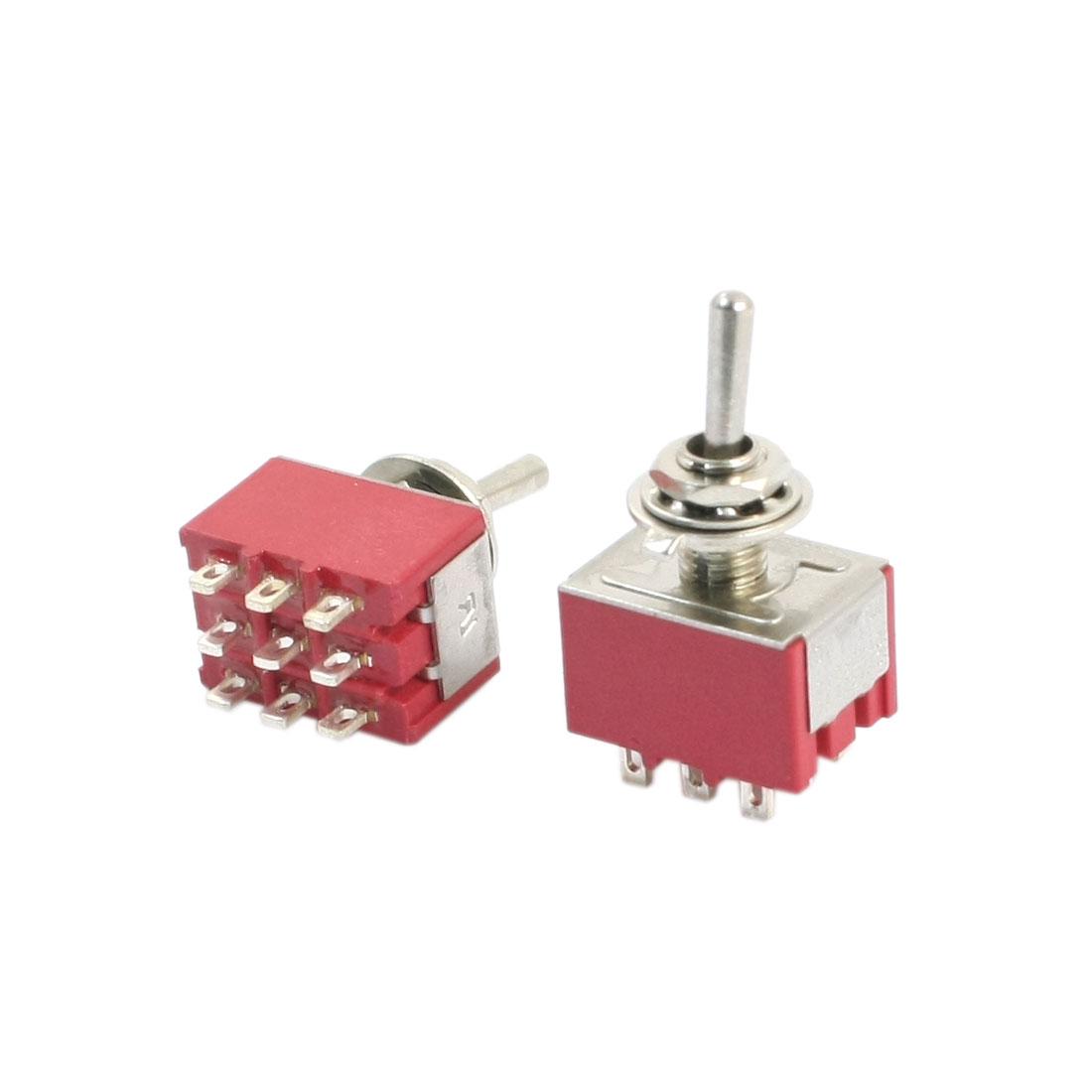 2Pcs AC125V 5A AC250V 2A Rocker Type 3PDT Latching 9 Terminals Toggle Switch