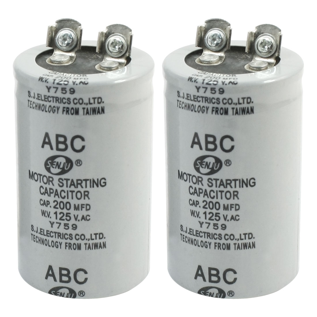 2Pcs AC125V 200MFD 200uF 2 Screw Terminals Motor Start Capacitor