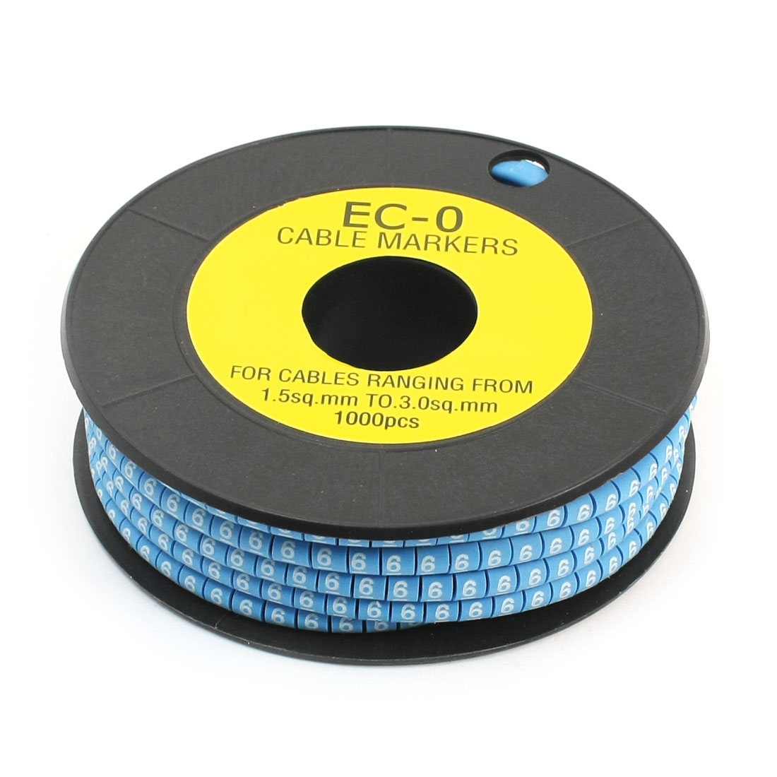 1000Pcs EC-0 Arabic Numeral 6 Print Blue Flexible PVC Concave Shaped Wire Cable Markers Roll for 1.5-3.0mm2 Tube Label