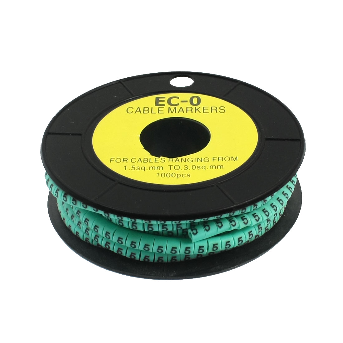 1000Pcs EC-0 Arabic Numeral 5 Print Green Flexible PVC Concave Shape Wire Cable Markers Roll for 1.5-3mm2 Tube Label