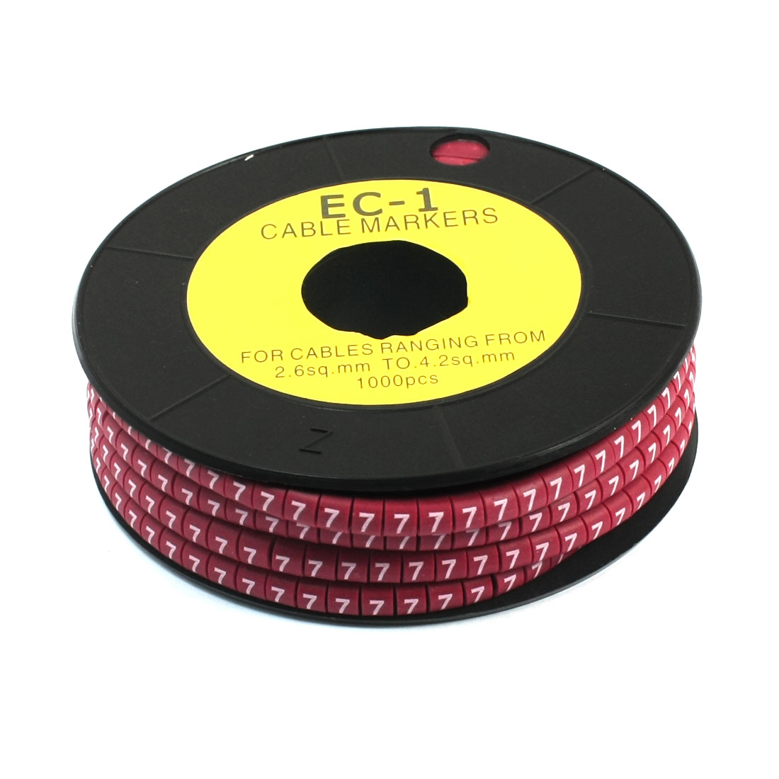 1000Pcs EC-1 Arabic Numeral 7 Print Red Flexible PVC Concave Shape Wire Cable Markers Roll for 2.6-4.2mm2 Tube Label