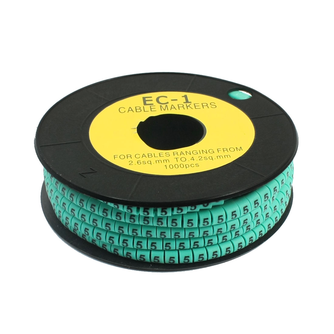 1000pcs Number 5 Printed EC-1 Soft PVC Flexible Cable Markers Green