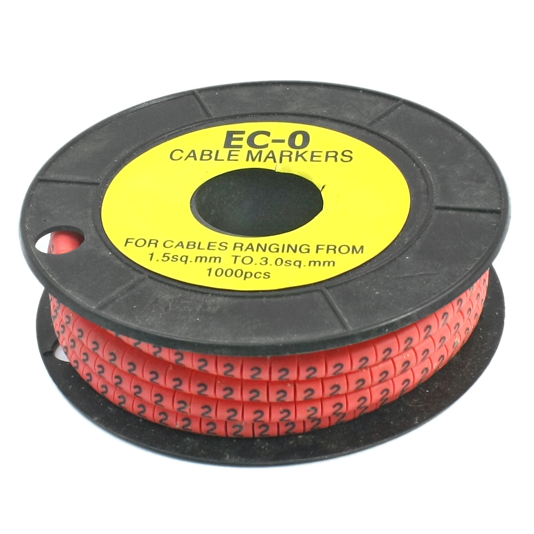 1000Pcs Red Self Locking PVC Number 2 1.5-3sq.mm Cable Markers