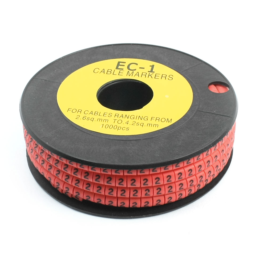 1000Pcs EC-1 Arabic Numeral 2 Print Pink Flexible PVC Concave Shape Wire Cable Markers Roll for 2.6-4.2mm2 Tube Label