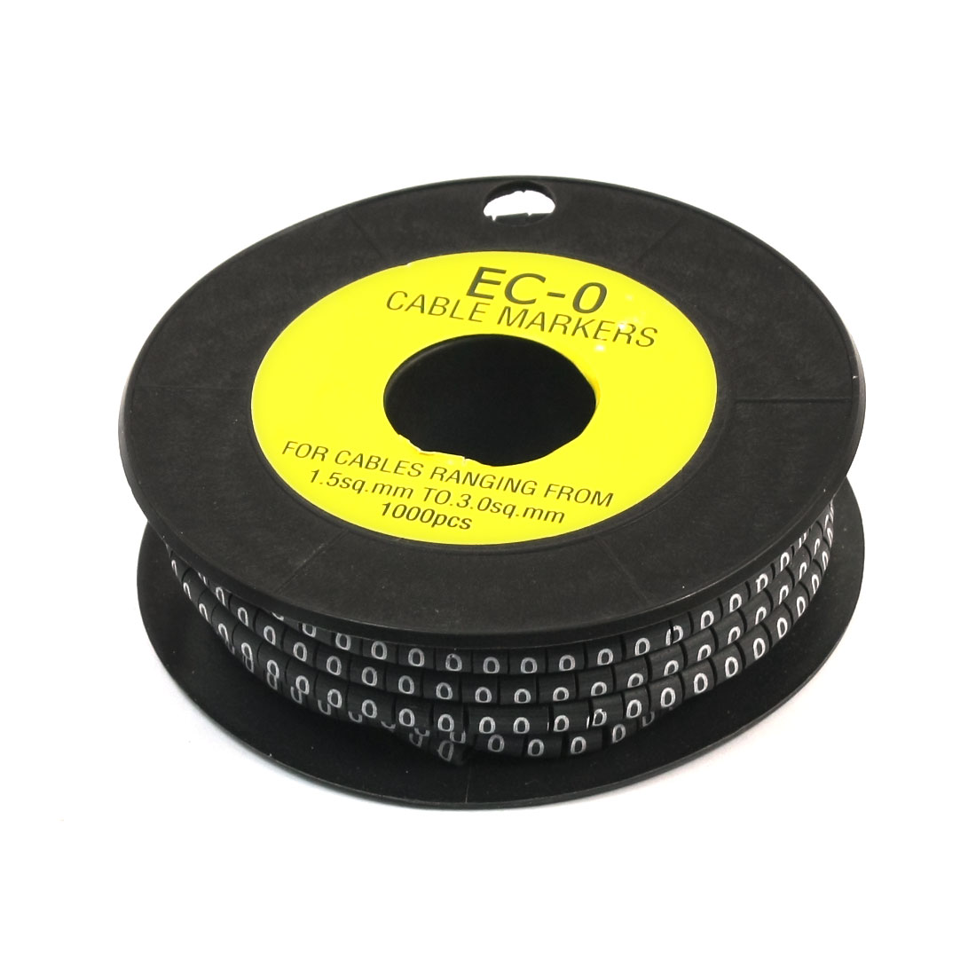 1000Pcs EC-0 Arabic Numeral 0 Print Black Flexible PVC Concave Shaped Wire Cable Markers Roll for 1.5-3.0mm2 Tube Label