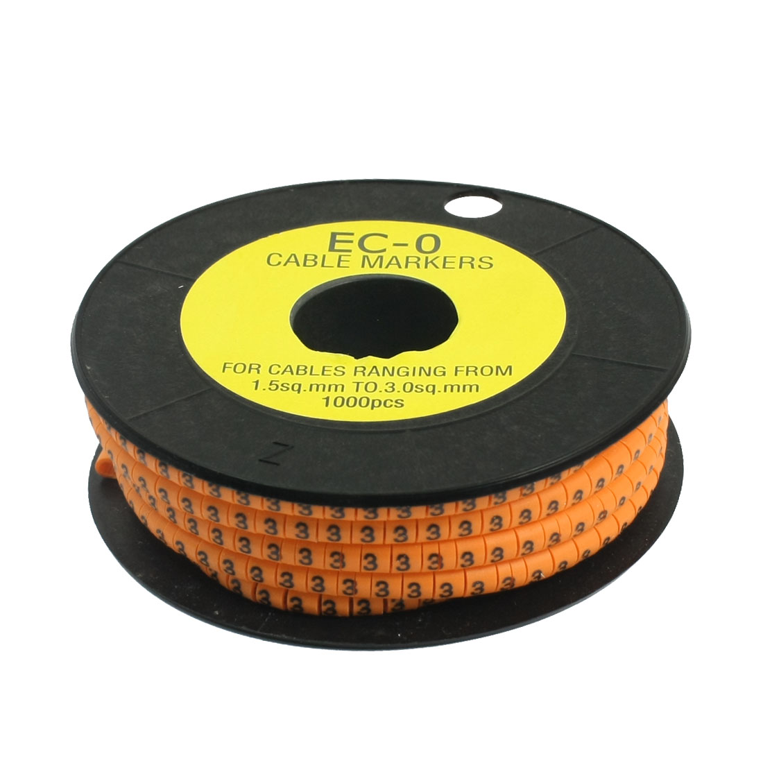 1000Pcs EC-0 Arabic Numeral 3 Print Orange Flexible PVC Concave Shaped Wire Cable Markers Roll for 1.5-3mm2 Tube Label
