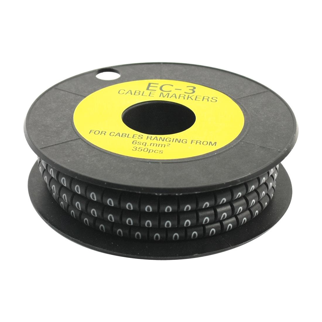 350pcs Number 0 Print 4.5mm Inner Dia EC-3 Soft PVC Flexible Cable Markers Black