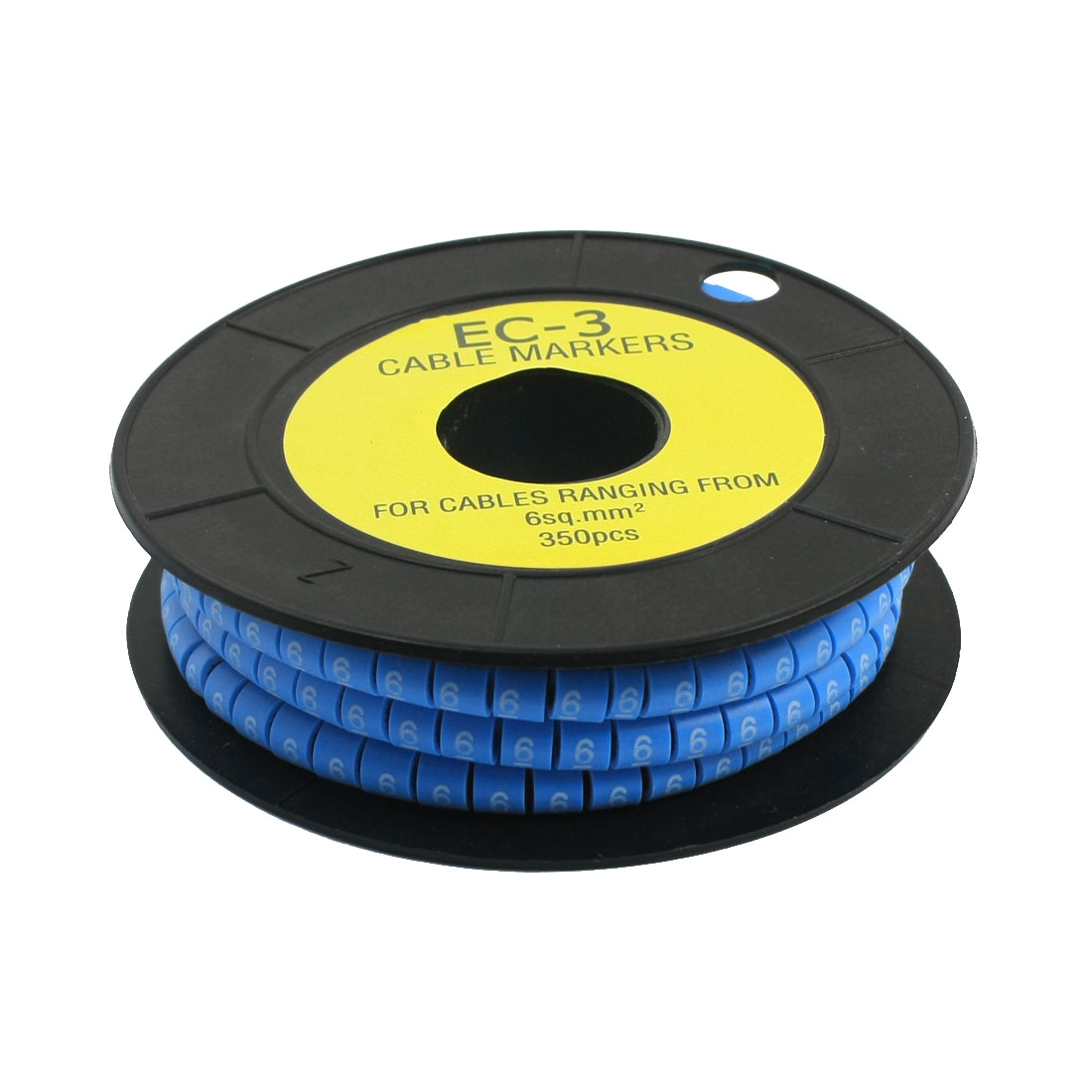 350PCS Blue Soft PVC Arabic Number 6 Cable Markers for 6mm2 Wire