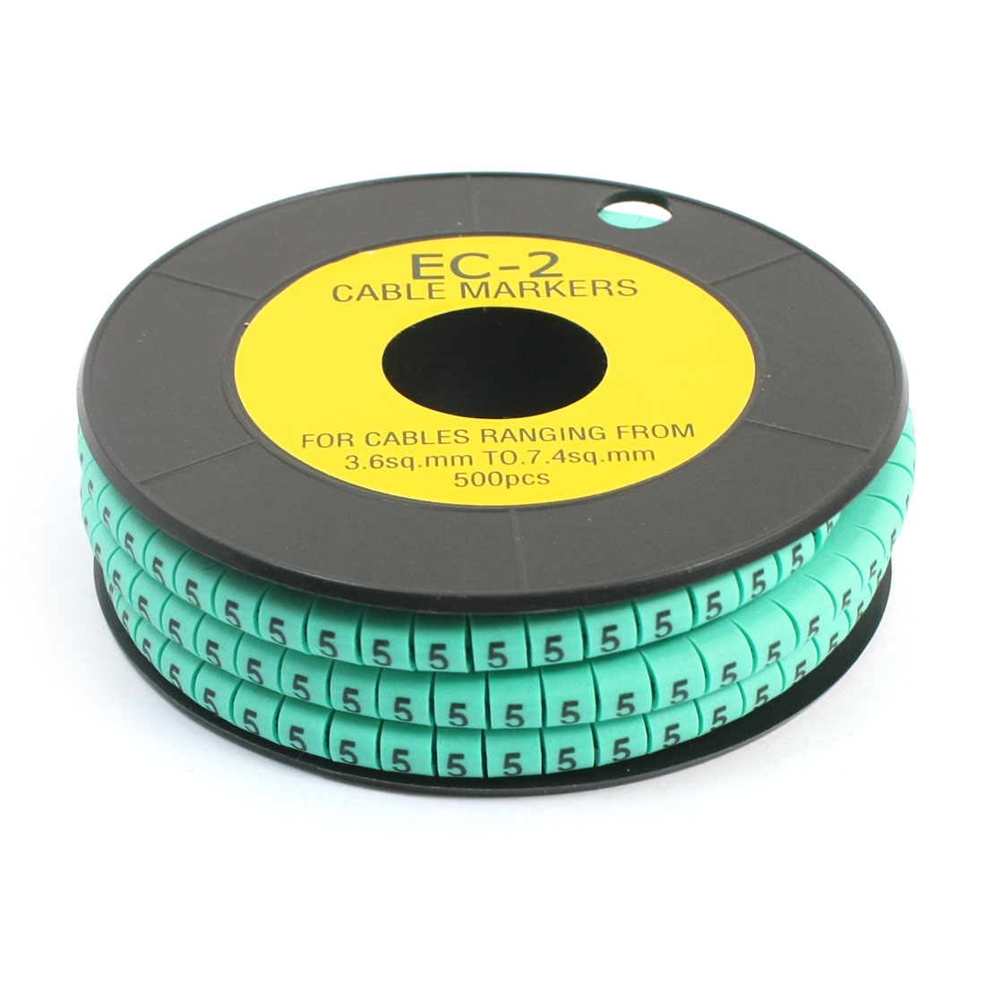 500 Pcs Green Self Locking PVC Number 5 3.6-7.4sq.mm Cable Markers