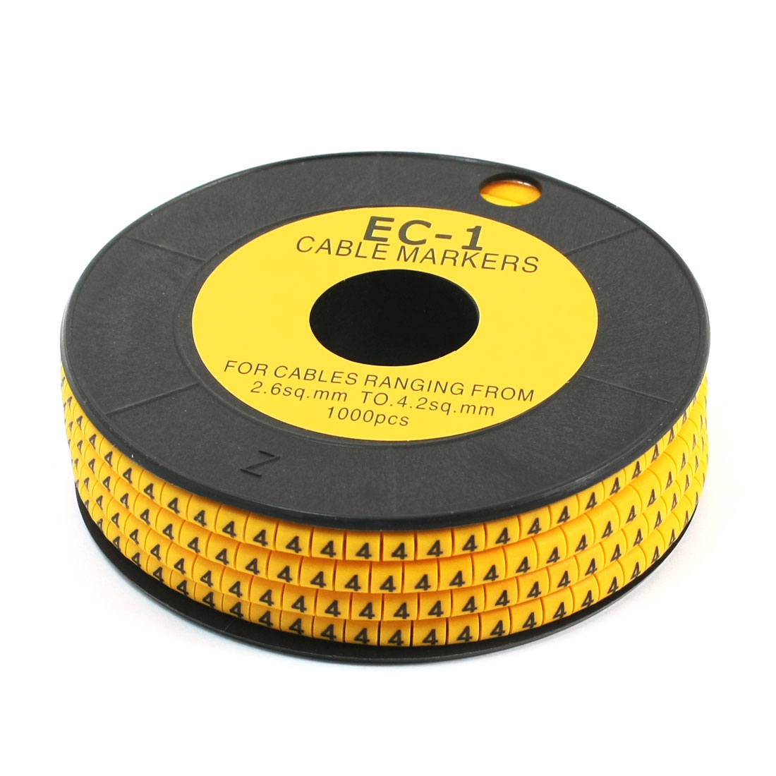 1000Pcs EC-1 Arabic Numeral 4 Print Yellow Flexible PVC Concave Shaped Wire Cable Markers Roll for 2.6-4.2mm2 Tube Label