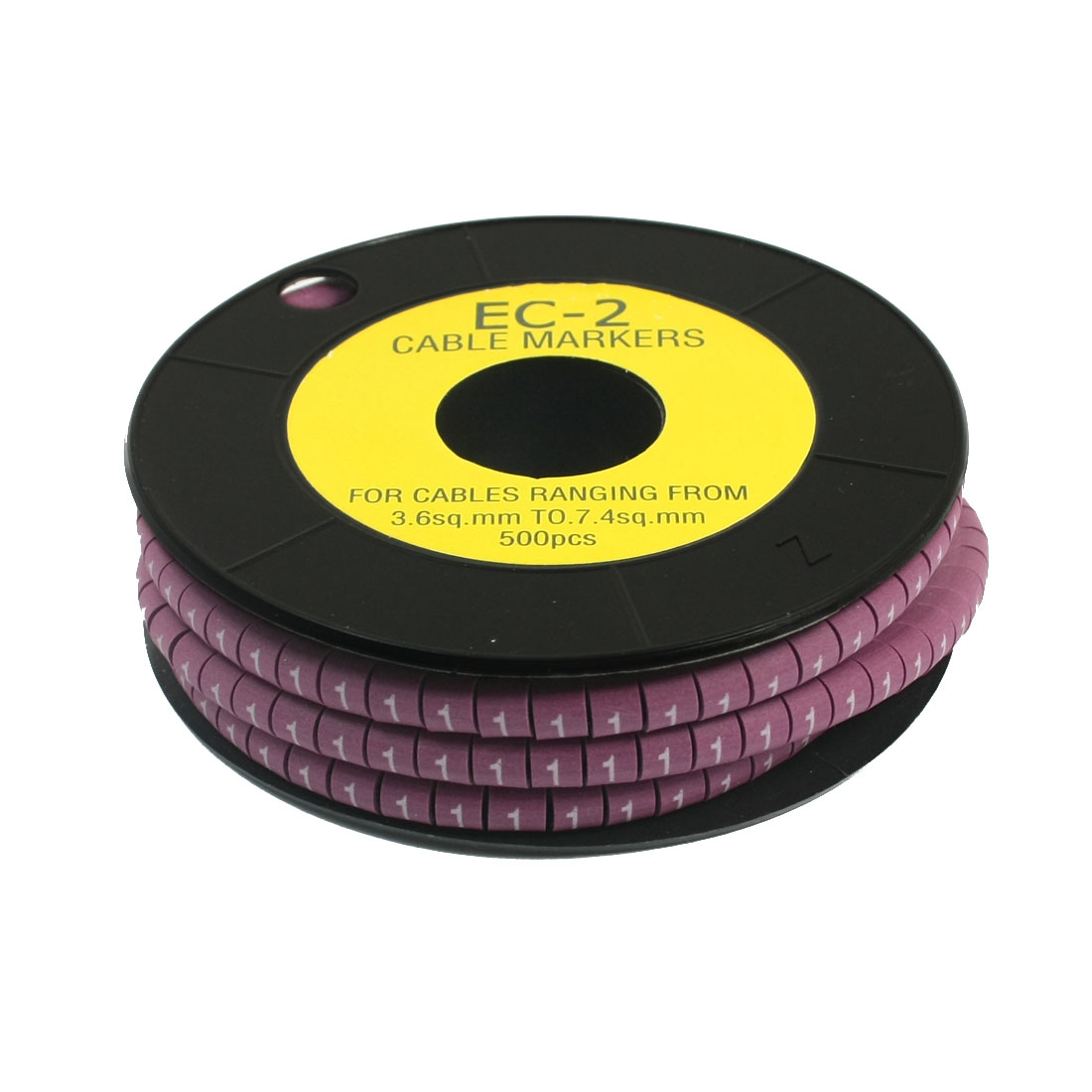 500Pcs EC-2 Arabic Numeral 1 Print Purple Flexible PVC Concave Shaped Wire Cable Markers Roll for 3.6-7.4mm2 Tube Label