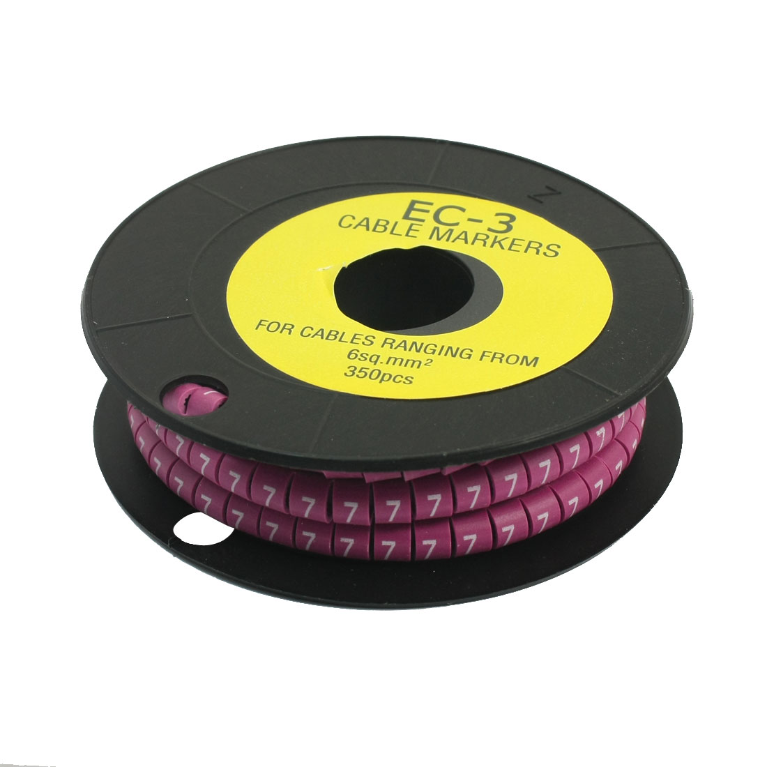 350Pcs EC-3 Arabic Numeral 7 Print Purple Flexible PVC Concave Shaped Wire Cable Markers Roll for 6sq.mm Tube Label