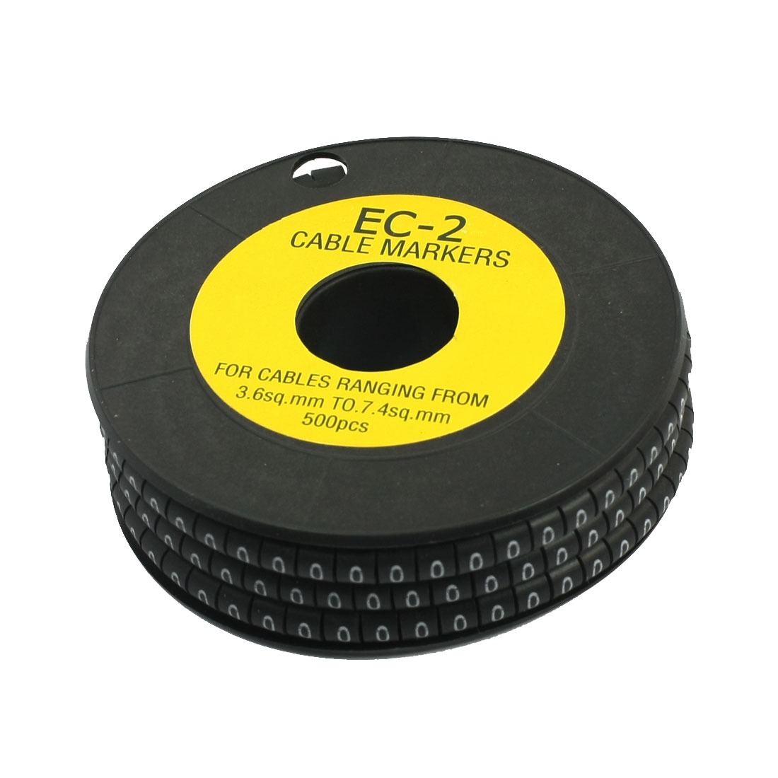 500Pcs EC-2 Arabic Numeral 0 Print Black Flexible PVC Concave Shape Wire Cable Markers Roll for 3.6-7.4mm2 Tube Label