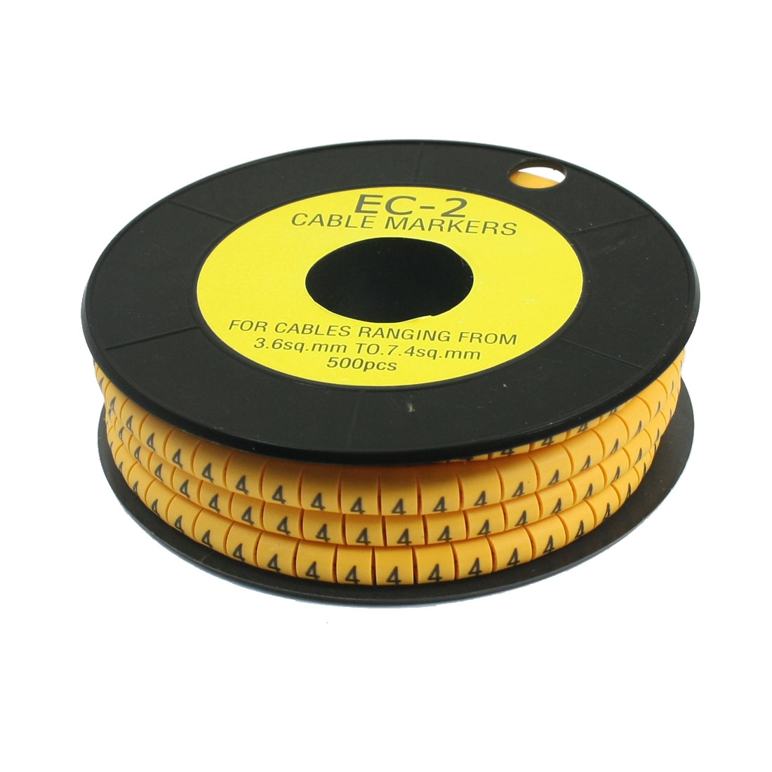 500Pcs EC-2 Arabic Numeral 4 Print Yellow Flexible PVC Concave Shaped Wire Cable Markers Roll for 3.6-7.4mm2 Tube Label