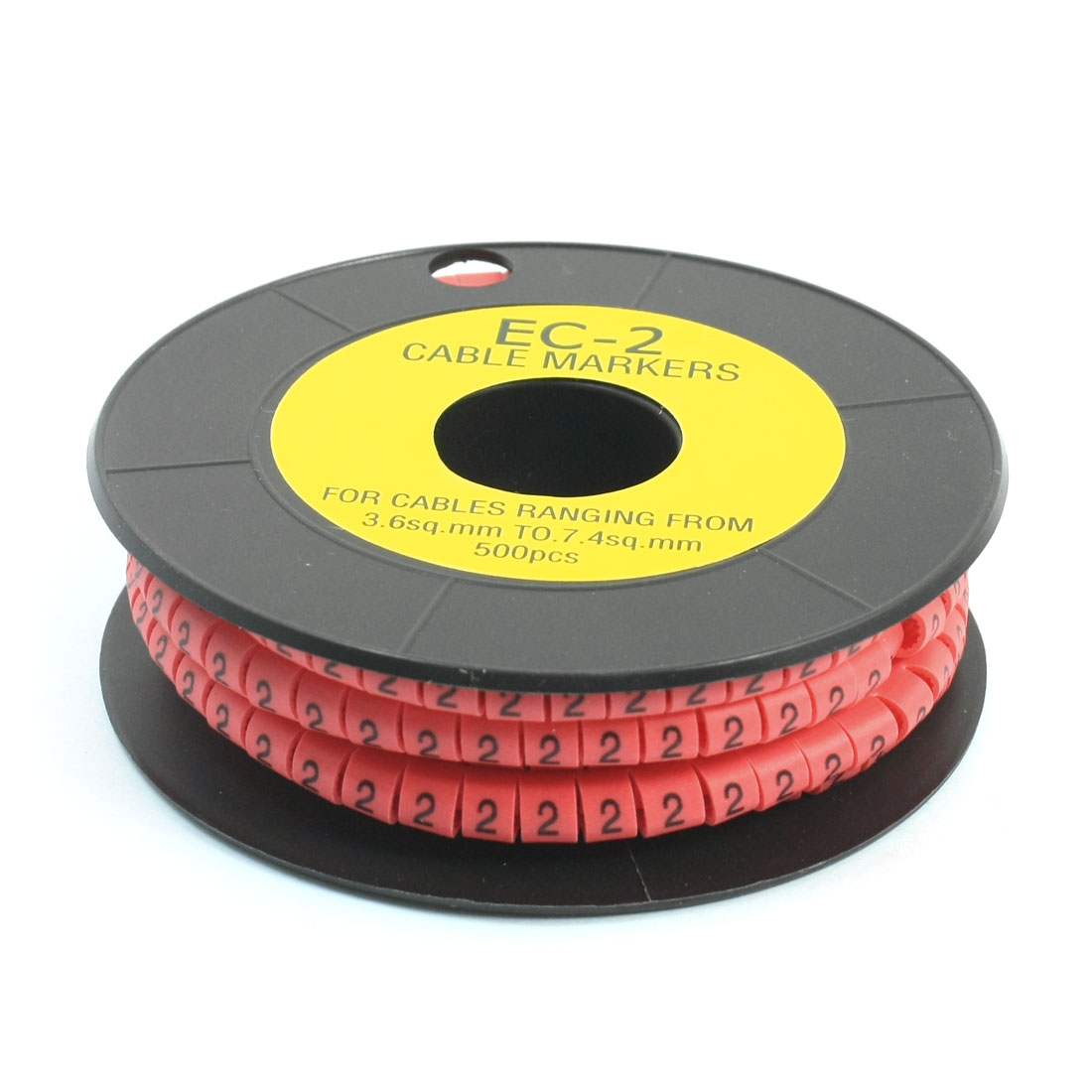 500Pcs EC-2 Arabic Numeral 2 Print Pink Flexible PVC Concave Shaped Wire Cable Markers Roll for 3.6-7.4mm2 Tube Label