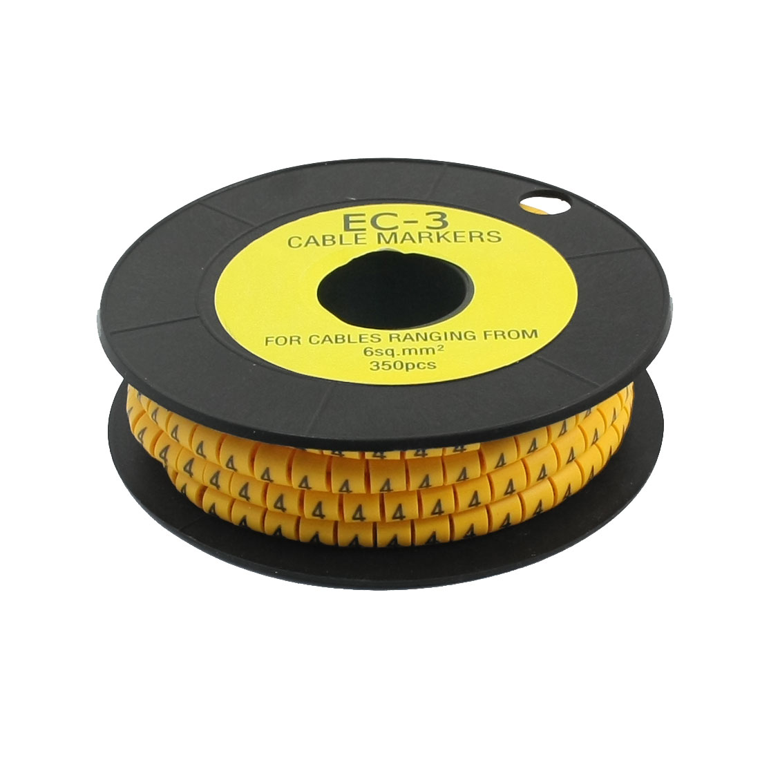 350Pcs EC-3 Arabic Numeral 4 Print Yellow Flexible PVC Concave Shaped Wire Cable Markers Roll for 6mm2 Tube Label