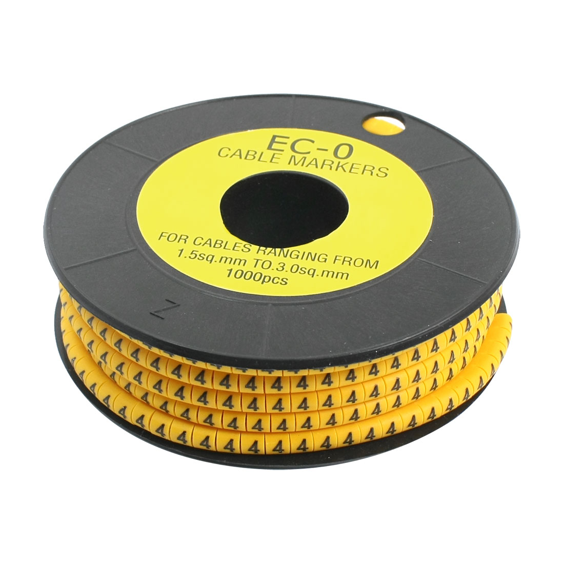 1000pcs Number 4 Pattern EC-0 Soft PVC Flexible Cable Markers Orange