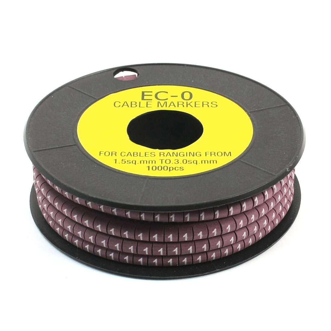 1000Pcs EC-0 Arabic Numeral 1 Print Purple Flexible PVC Concave Shaped Wire Cable Markers Roll for 1.5-3.0mm2 Tube Label