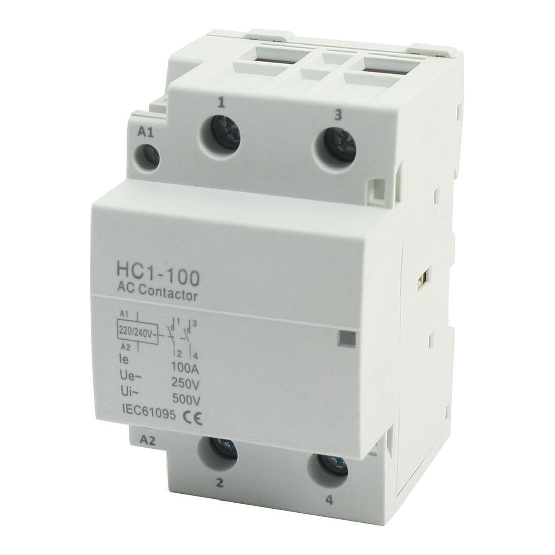 220/240V Coil 100A 2 Pole 6 Terminal Motor Control AC Contactor HC1-100