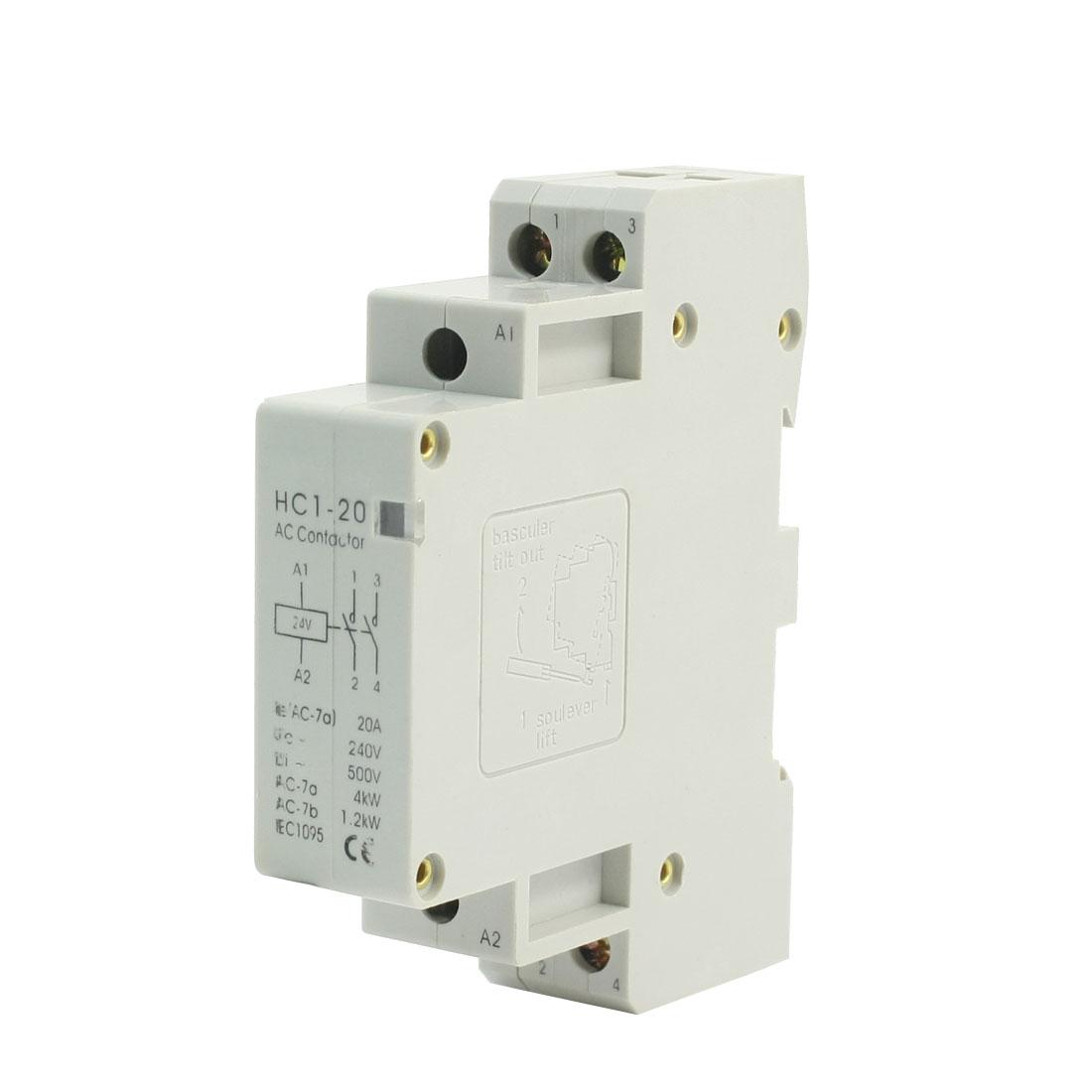 24V Coil 20A 2 Pole 6 Screw Terminal Motor Control AC Contactor HC1-20