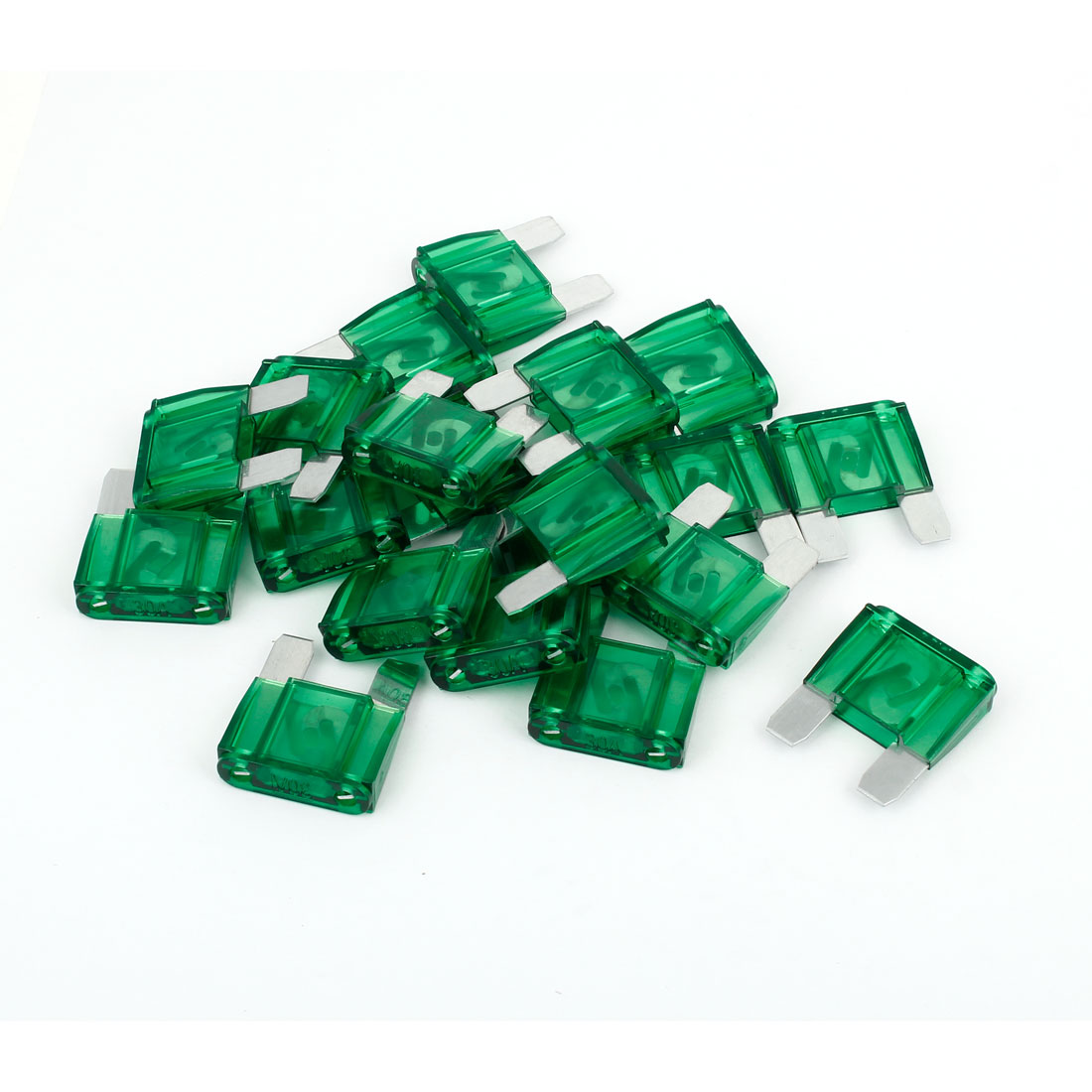 20 Pcs 30A Green Shell Auto Car Motorcycle Large Size Blade Fuse