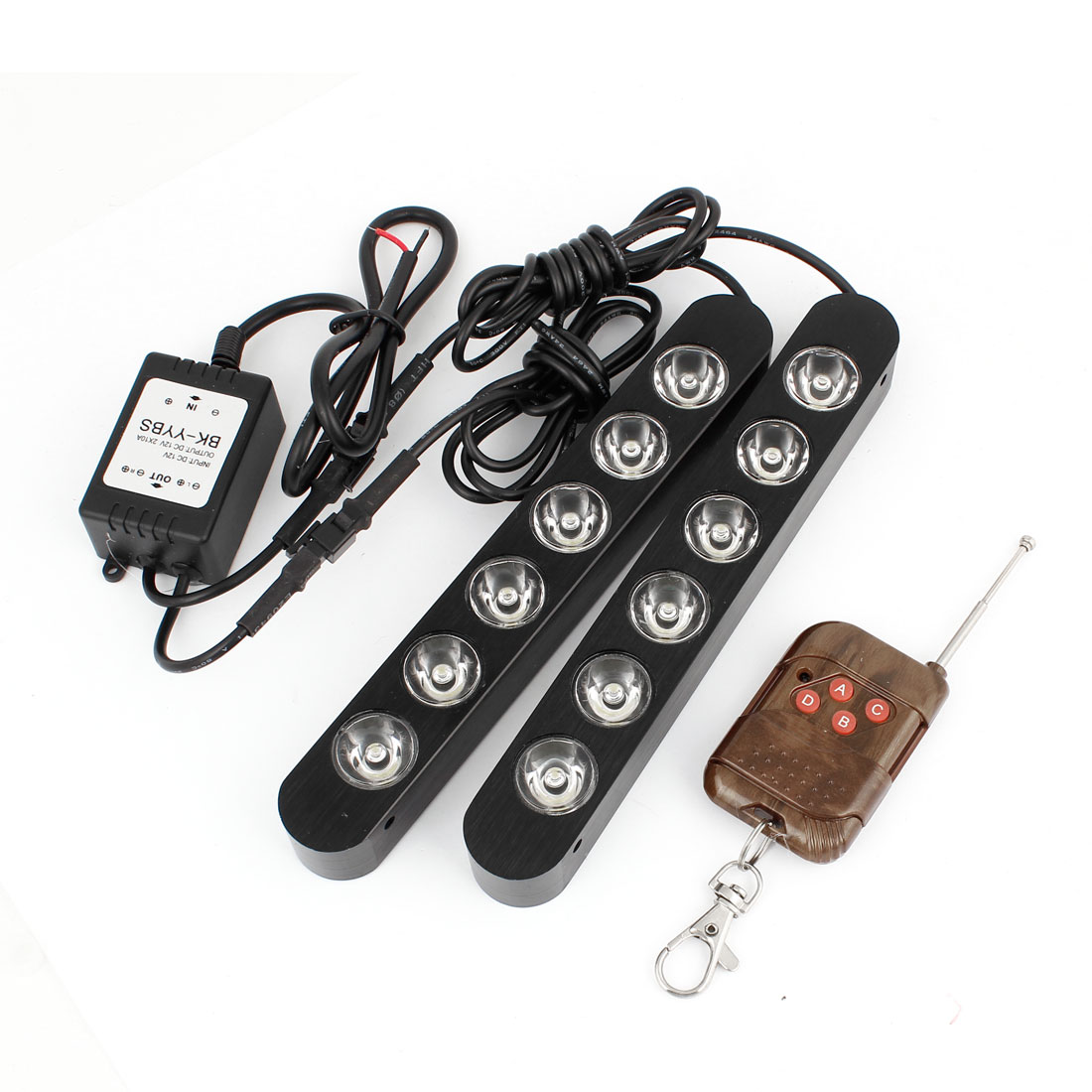 2 Pcs Black Metal Case 6 White LEDs Car DRL Daytime Running Light Driving Lamp