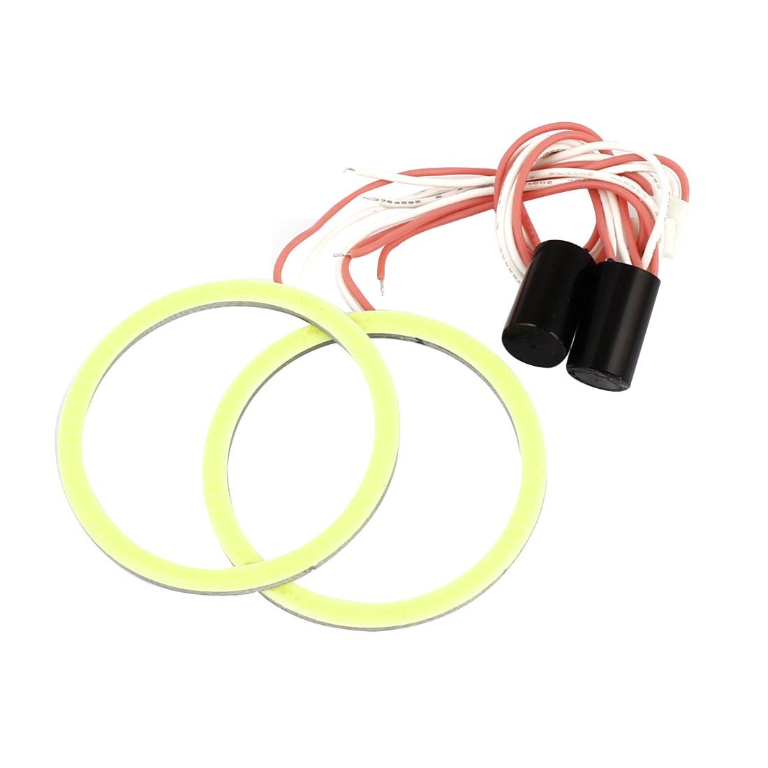 Pair 60mm Dia White COB Angel Eye Ring DRL Headlight Lamp Spare Blub 12V for Auto Car